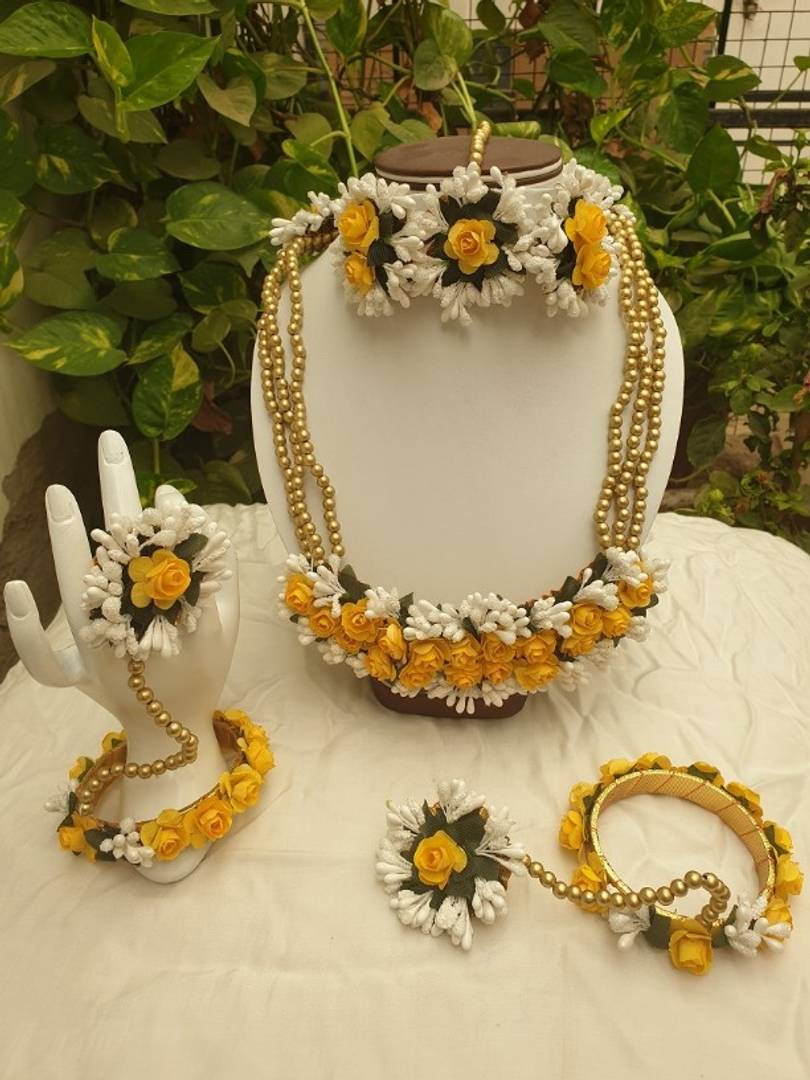 Beautiful Beads Studed Bridal Floral Flower Gotta Patti Jewellery Set for Women and Girls (Mehandi/Haldi/Bridal)