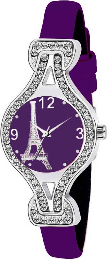 Purple Synthetic Leather watch for women
