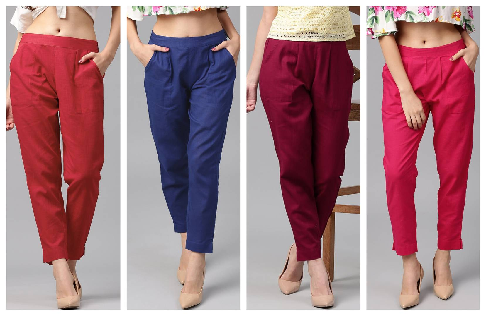Women's/Girls Cotton Flex Casual Solid Trouser Pants Pack Of 4