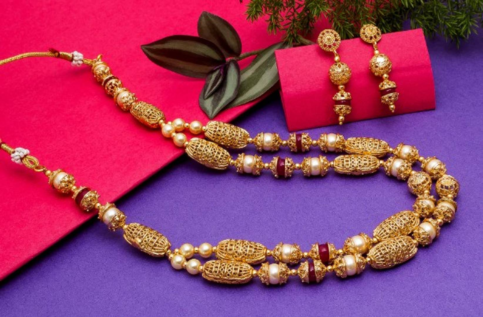Gold Plated Multi Strand Pearl Jewellery Set with Earrings for Women and Girls