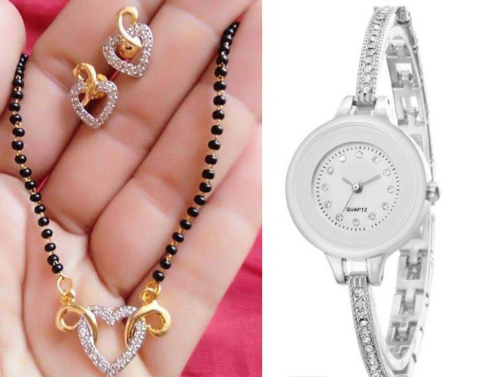 New Arrival Combo of Jewellery with Metal Watch For Women