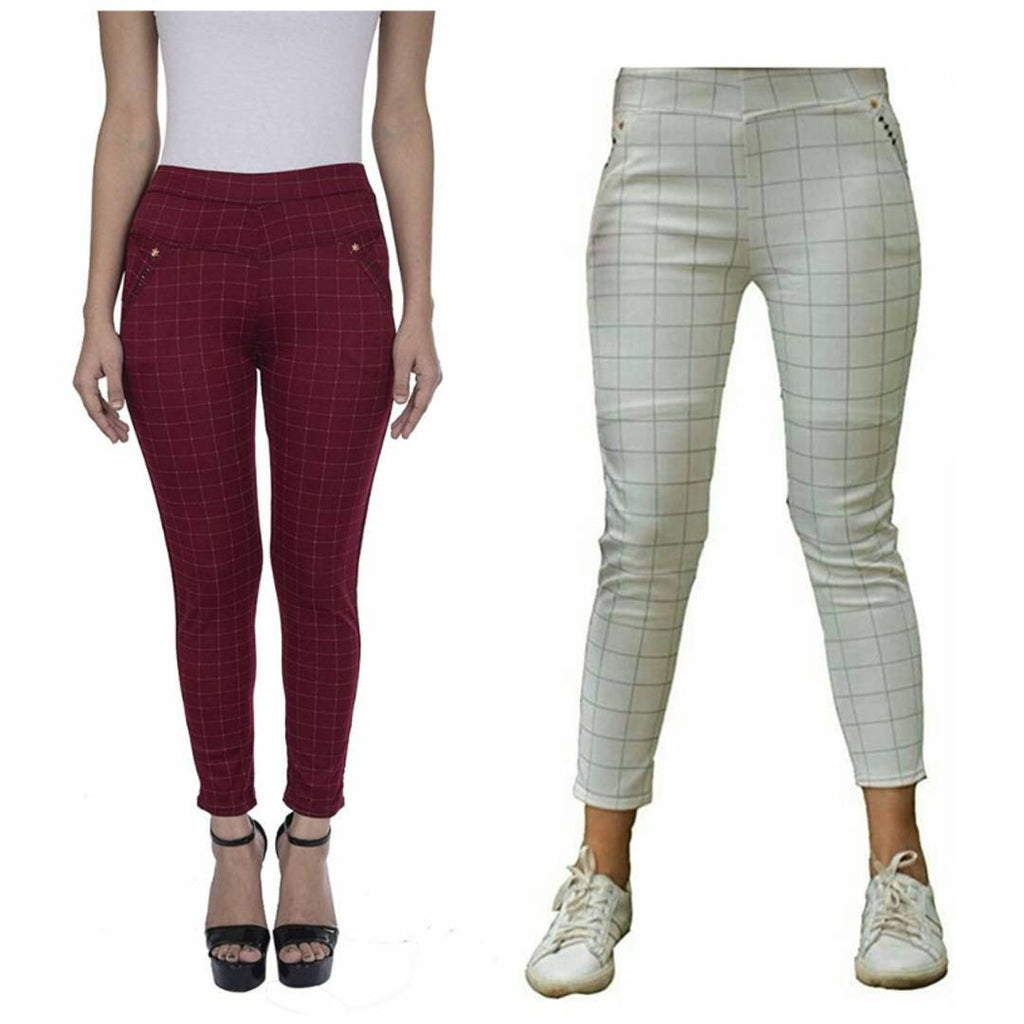 combo of 2 women's check pants - Zoopershop.com