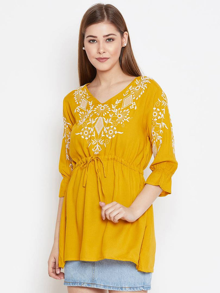 Yellow Embroidered Viscose Rayon V Neck Tees - Zoopershop.com