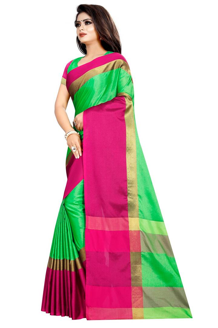 Stylish Cotton Silk Woven Design Saree with Blouse piece