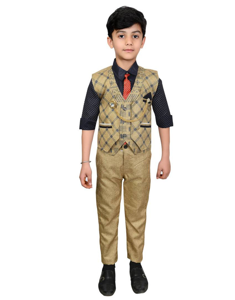Boys Kids Cotton Blend Waistcoat, Shirt, Tie & Trouser Set - Zoopershop.com