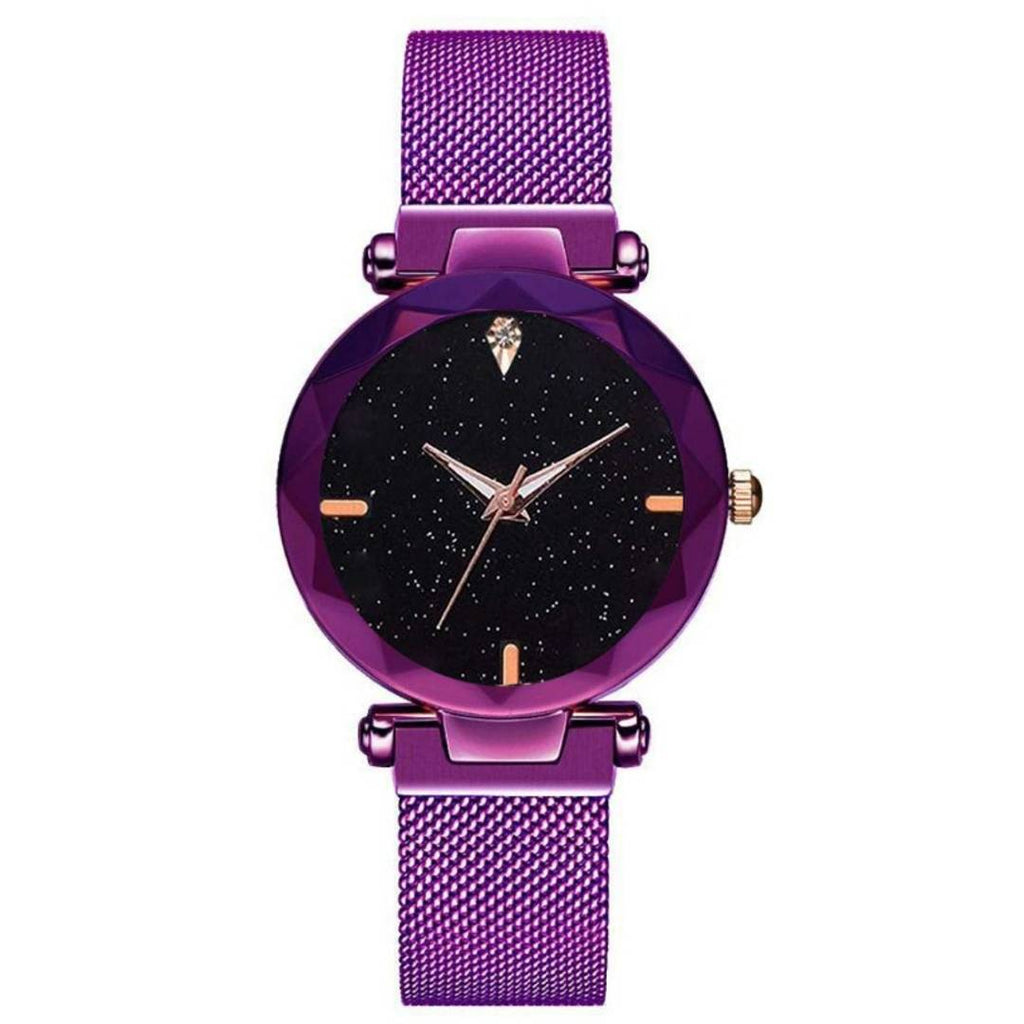 Purple Magnetic Strap Watch For Women