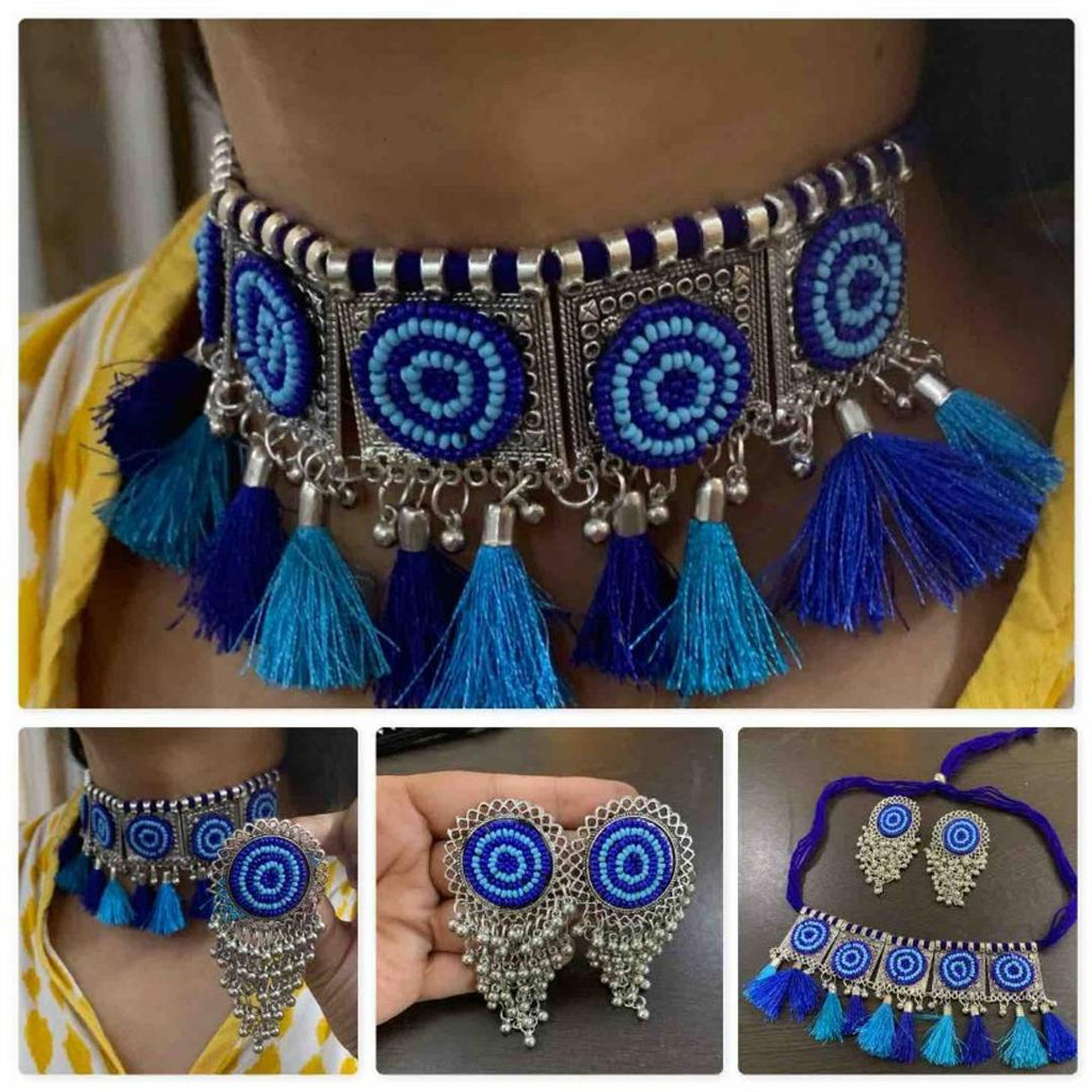 Trendy Oxidised Meenakari Choker Necklace Set