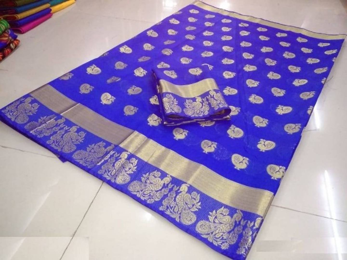 Designer Blue Color Cotton Silk Saree with Blouse piece