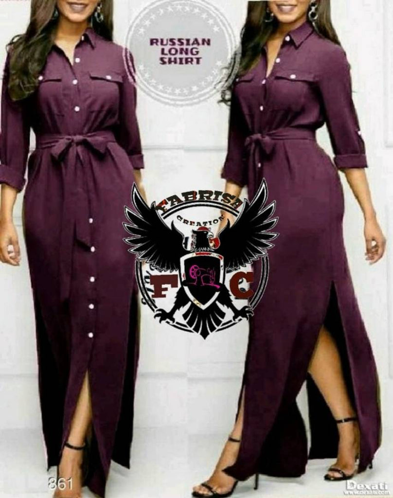 Purple Long Maxi Slit Shirt Dress - Zoopershop.com