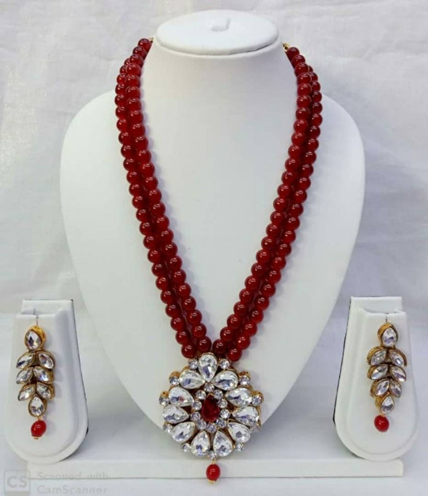 Trendy Pearl Beaded Crystal Kundan Necklace Set