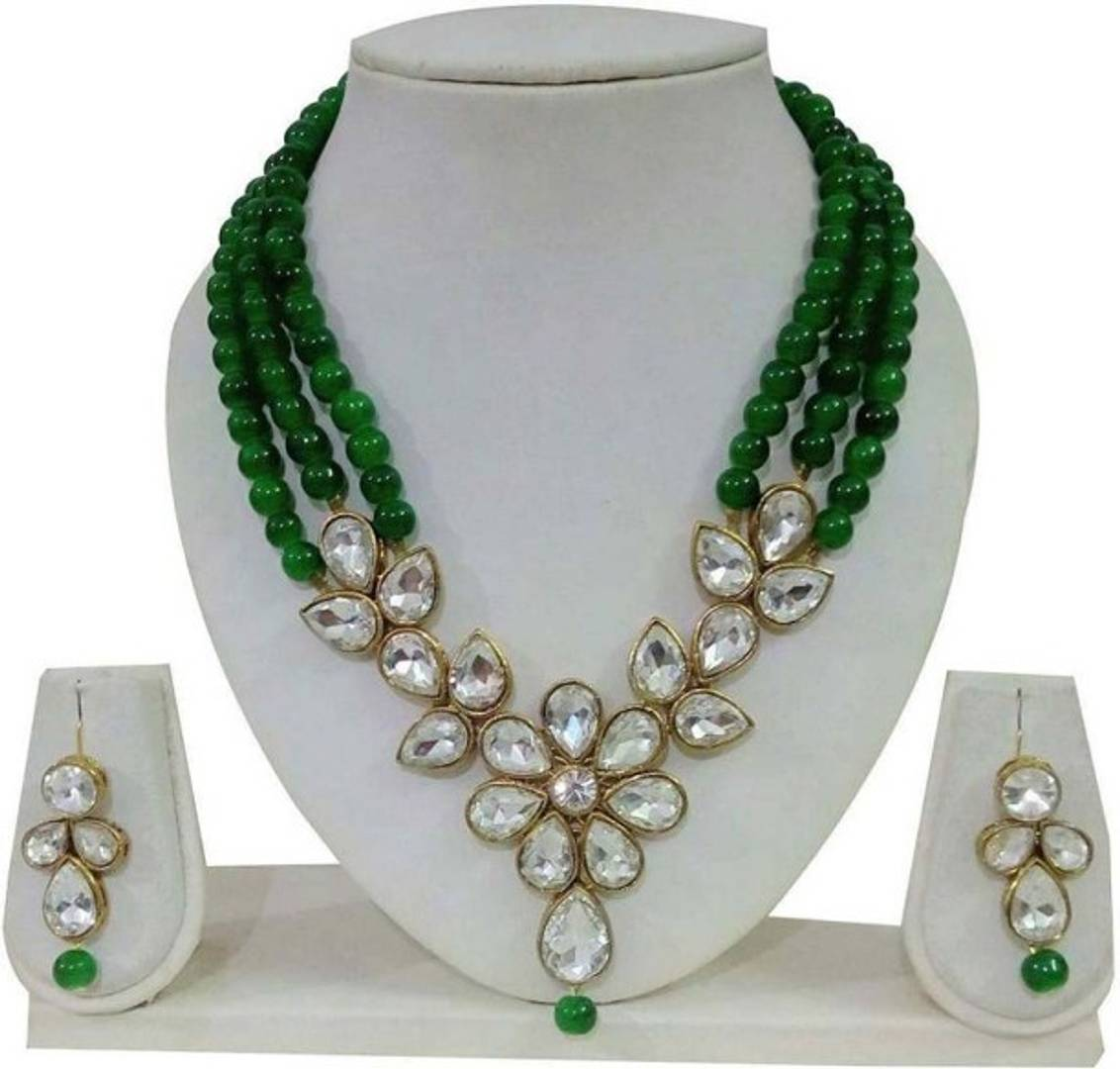 Antique Crystal Kundan Beaded Necklace Jewellery Set For Women's