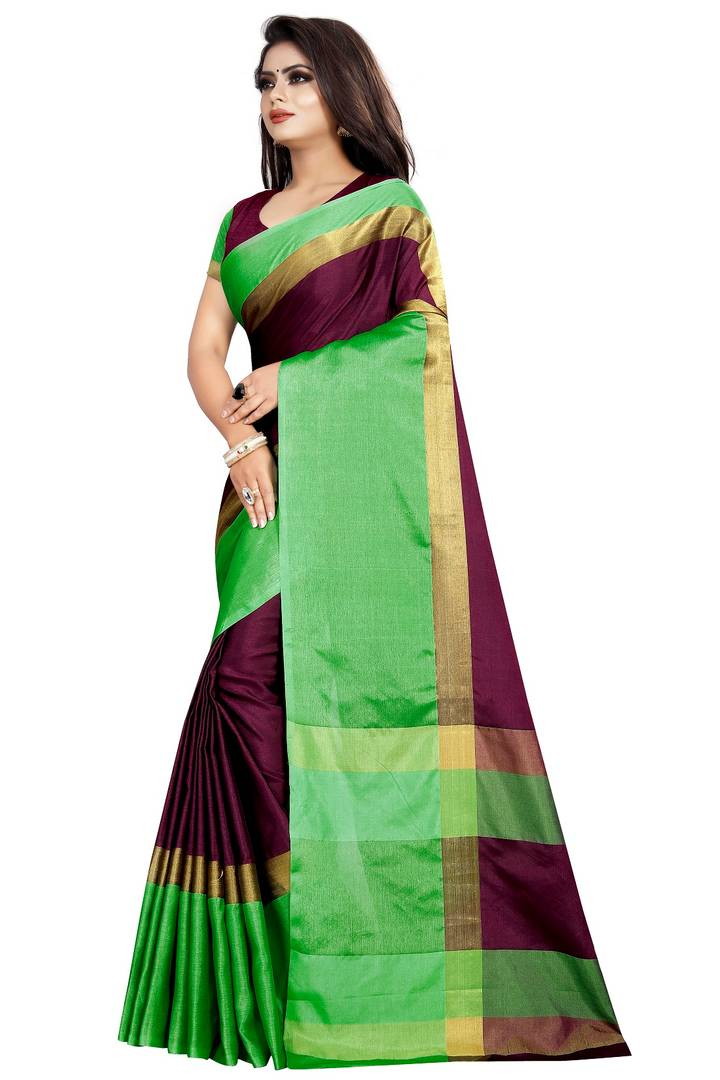 Stylish Multicolored Cotton Banarasi Silk Woven Design Saree with Blouse piece