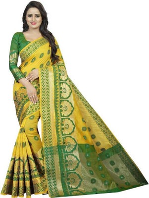 Banarasi cotton silk Jacquard saree with Blouse Piece