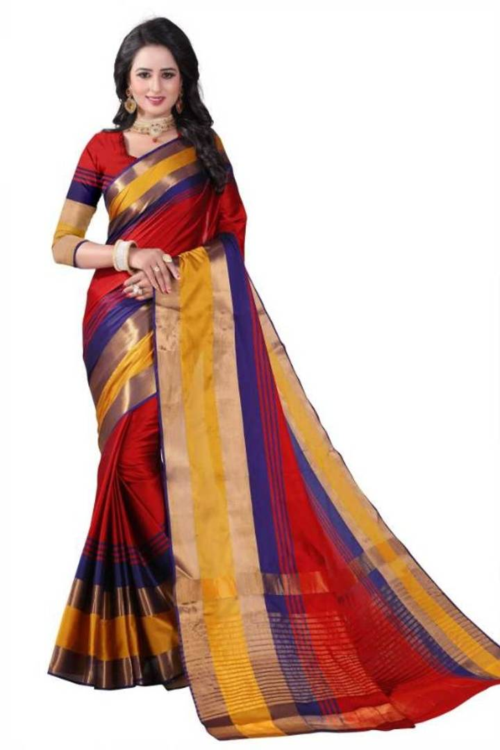 Trendy Multicoloured Cotton Silk Sarees with Blouse