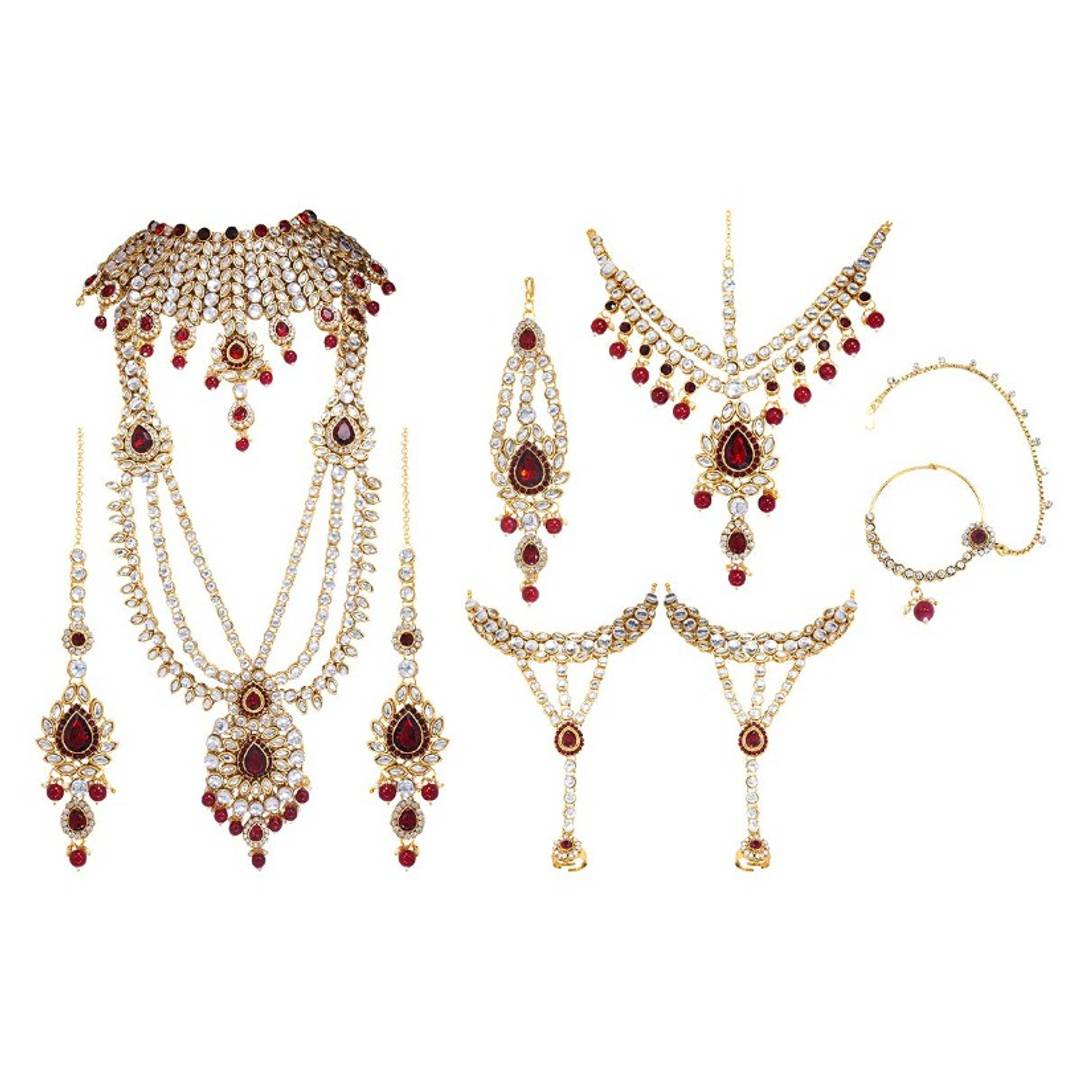 Maroon Kundan Traditional Bridal Set