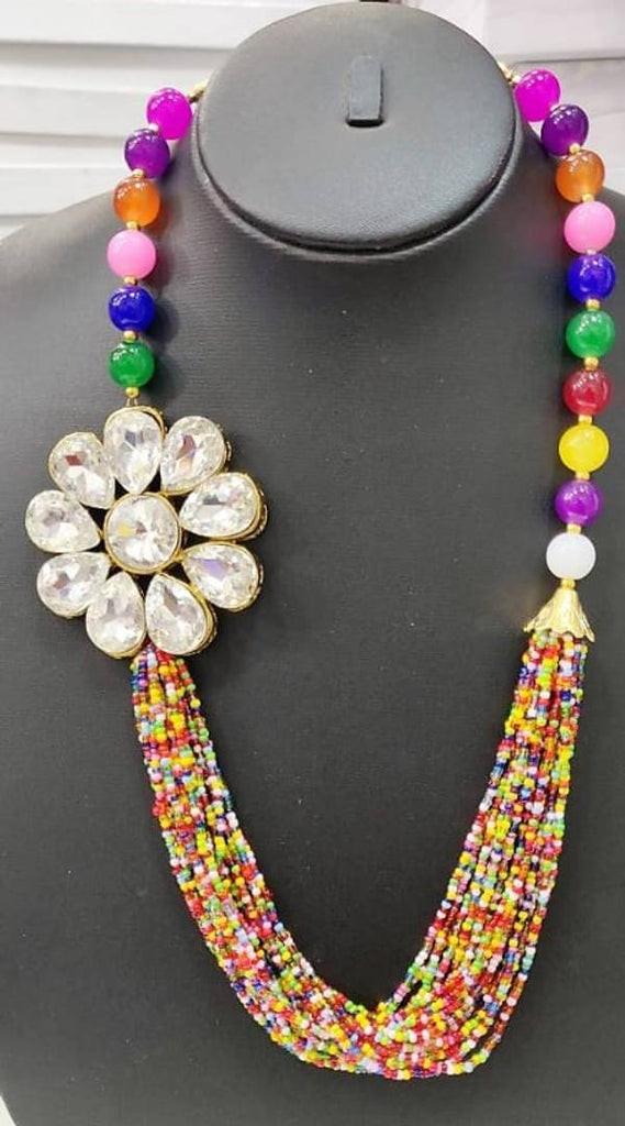 Beads Necklace Sets with Bold White Stone Broach Style Motifs with Matching Earrings