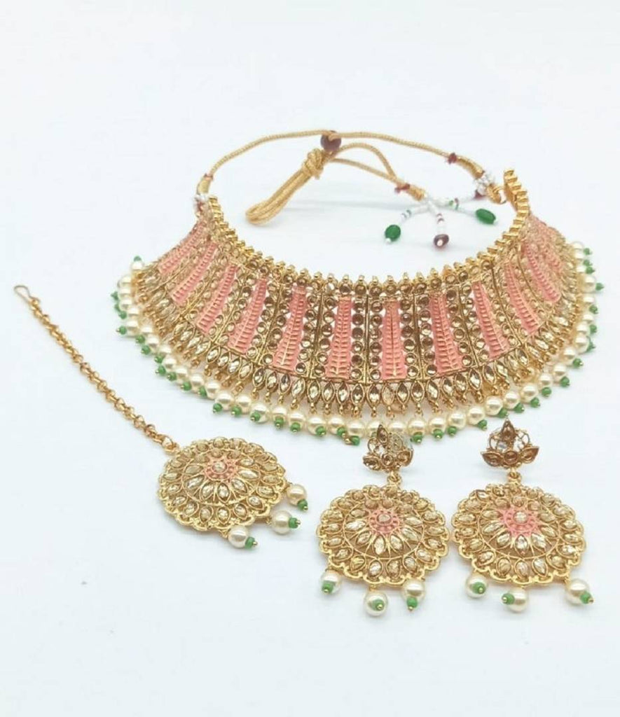 Gold Plated Choker Necklace Set With Earring & Mangtikka