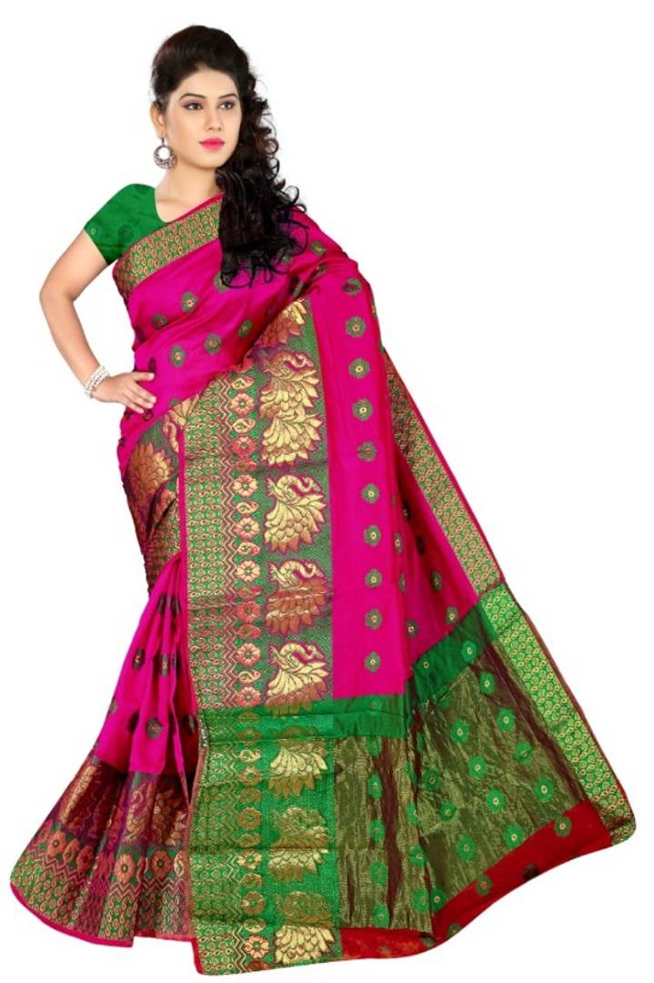 Multicoloured Banarasi Jacquard Cotton Silk Saree With Blouse Piece
