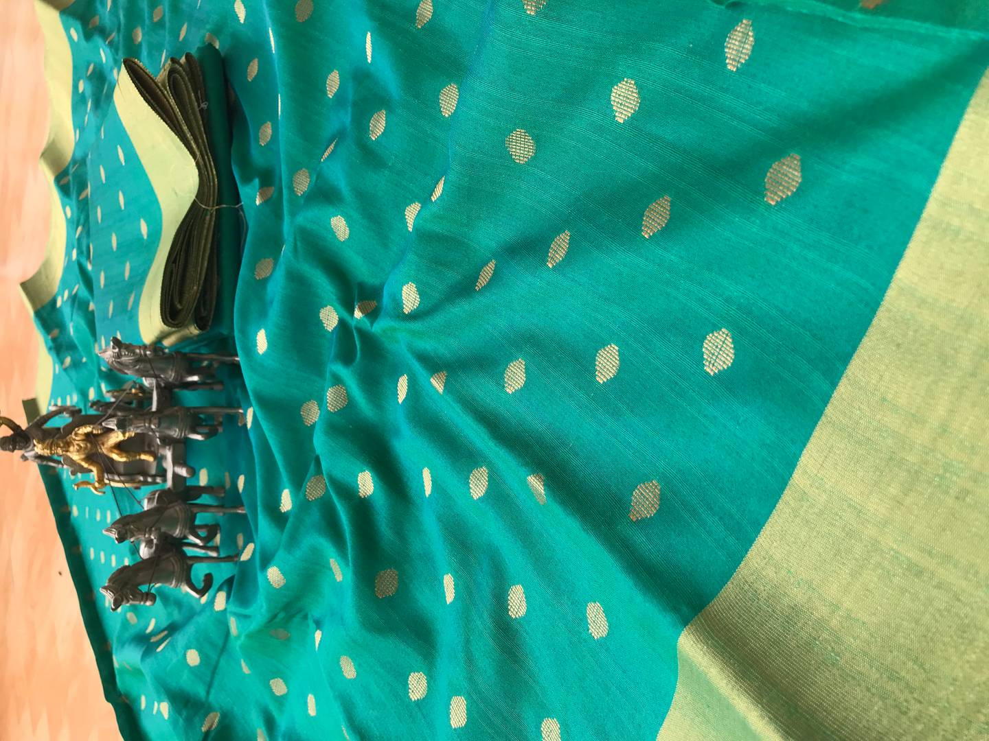 Blue Jacquard Cotton Banarasi Silk Saree with Blouse piece