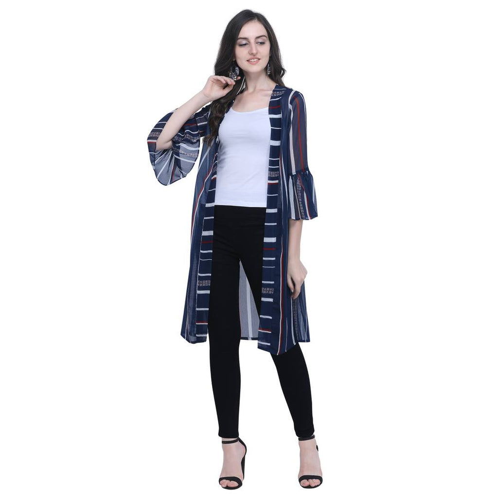 Women's Regular Length Blue Chiffon Striped Shrugs