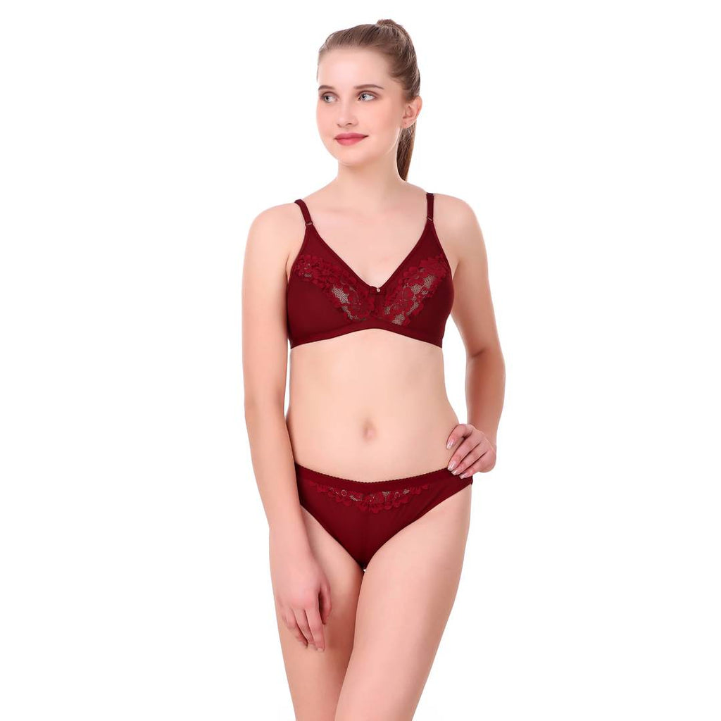 Maroon Cotton Spandex Bra & Panty Set For Women's
