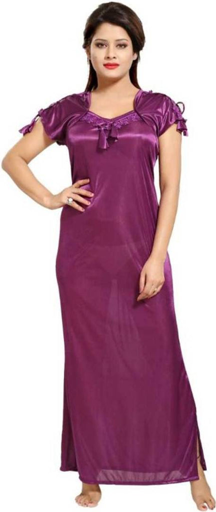 Attractive Satin Lace Worked Night Gown For Women's