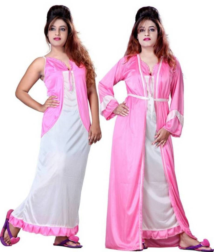 Fancy Satin 2-IN-1 Night Gown For Women's