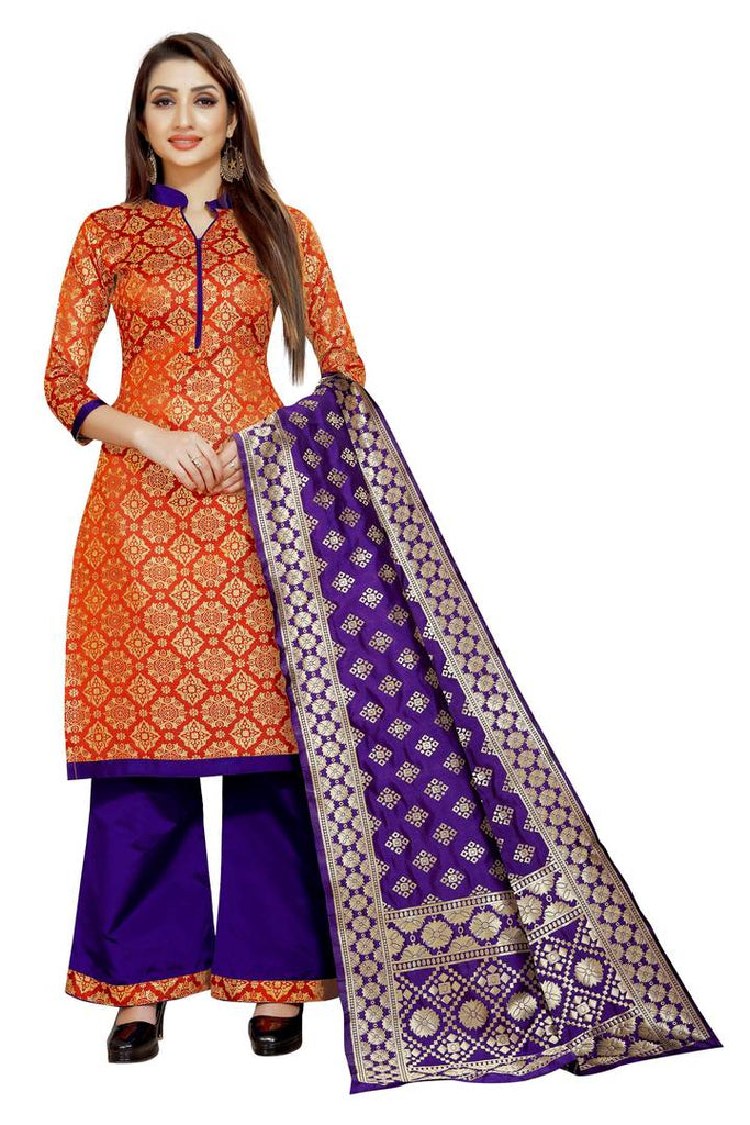 Orange Self Pattern Brocade Dress Material with Dupatta