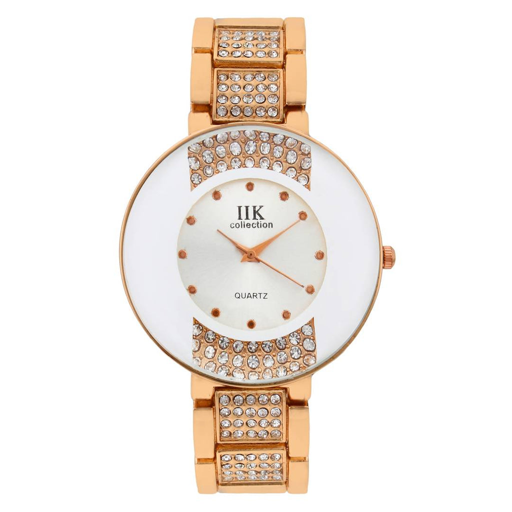 Women's White Analog Watch With Metal Strap