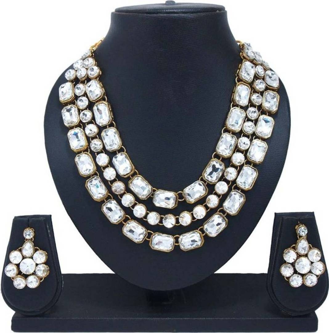 Trendy Gold Plated Crystal Jewellery Set