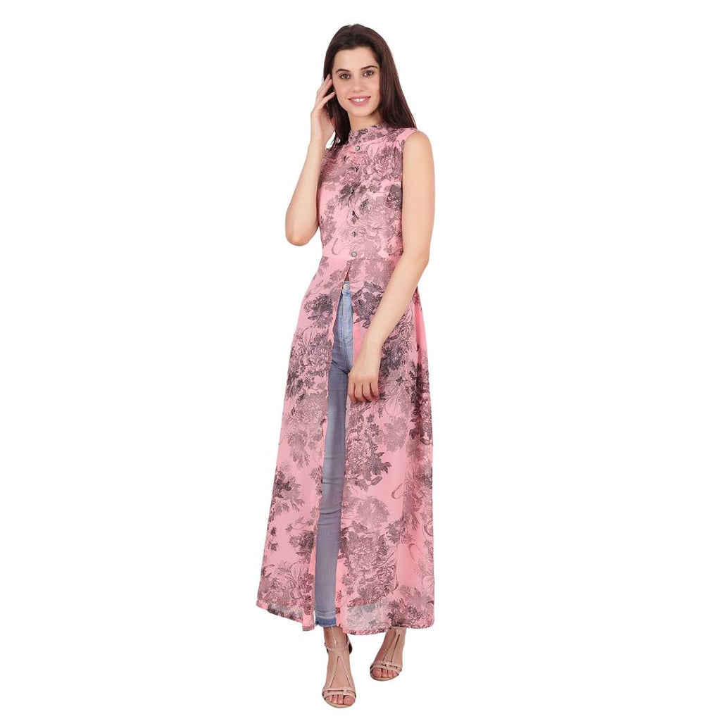 Pink Color Sleeveless Mandarin Collar Floral Print Maxi Dress - Zoopershop.com