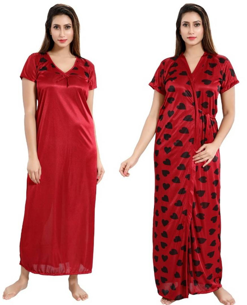 Comfy Satin Night Wears (Set Of 1 Piece Of Nighty & 1 Piece Of Robe) Comb of 2