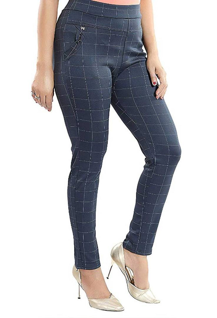 Checks Trouser Pants Stretchable High Waist Ankle Length Jeggings For Girls & Women Free Size (28 to 34) Waist - Zoopershop.com