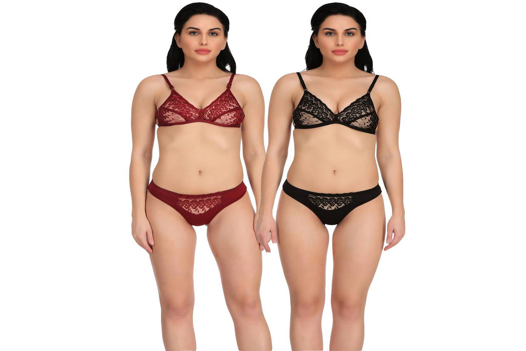 Women's Self Design Hosiery Lingerie Set Pack Of 2