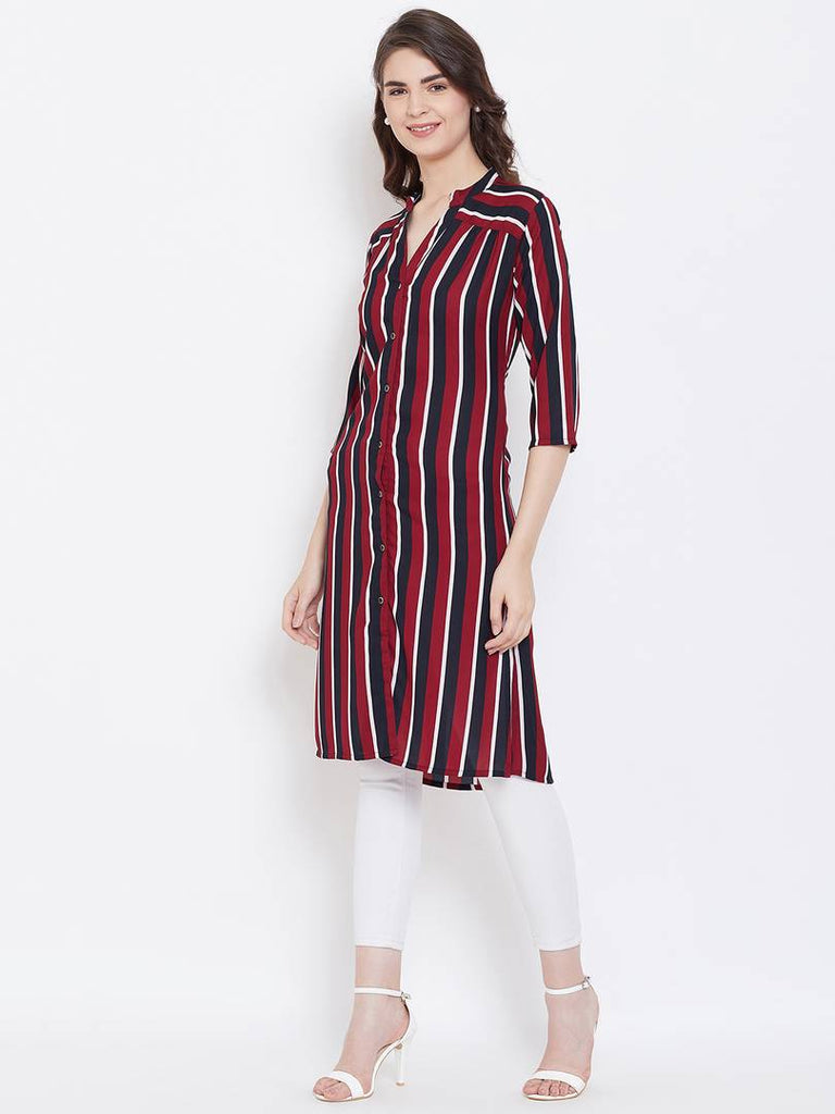 Maroon Long Length Striped Crepe Top For Women's - Zoopershop.com