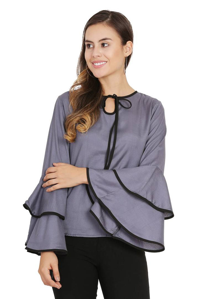 Women Grey Piping High Flair Bell Sleeves Top - Zoopershop.com