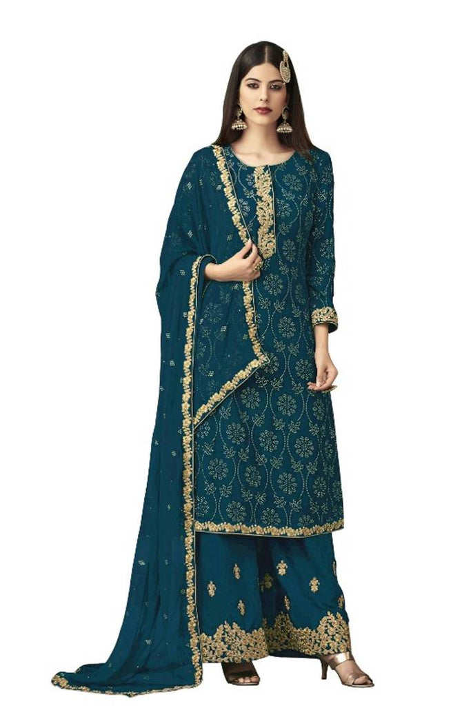 Georgette Embroidered Dress Material with Dupatta