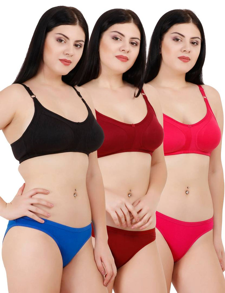 Women's Rayon Bra & Panty Set Combo Of 3