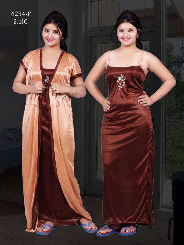 Comfy 2-IN-1 Satin Night Dress Set