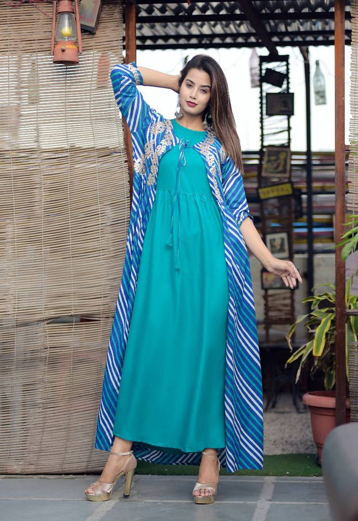 Stitched Printed Blue Rayon Kurtis For Women's