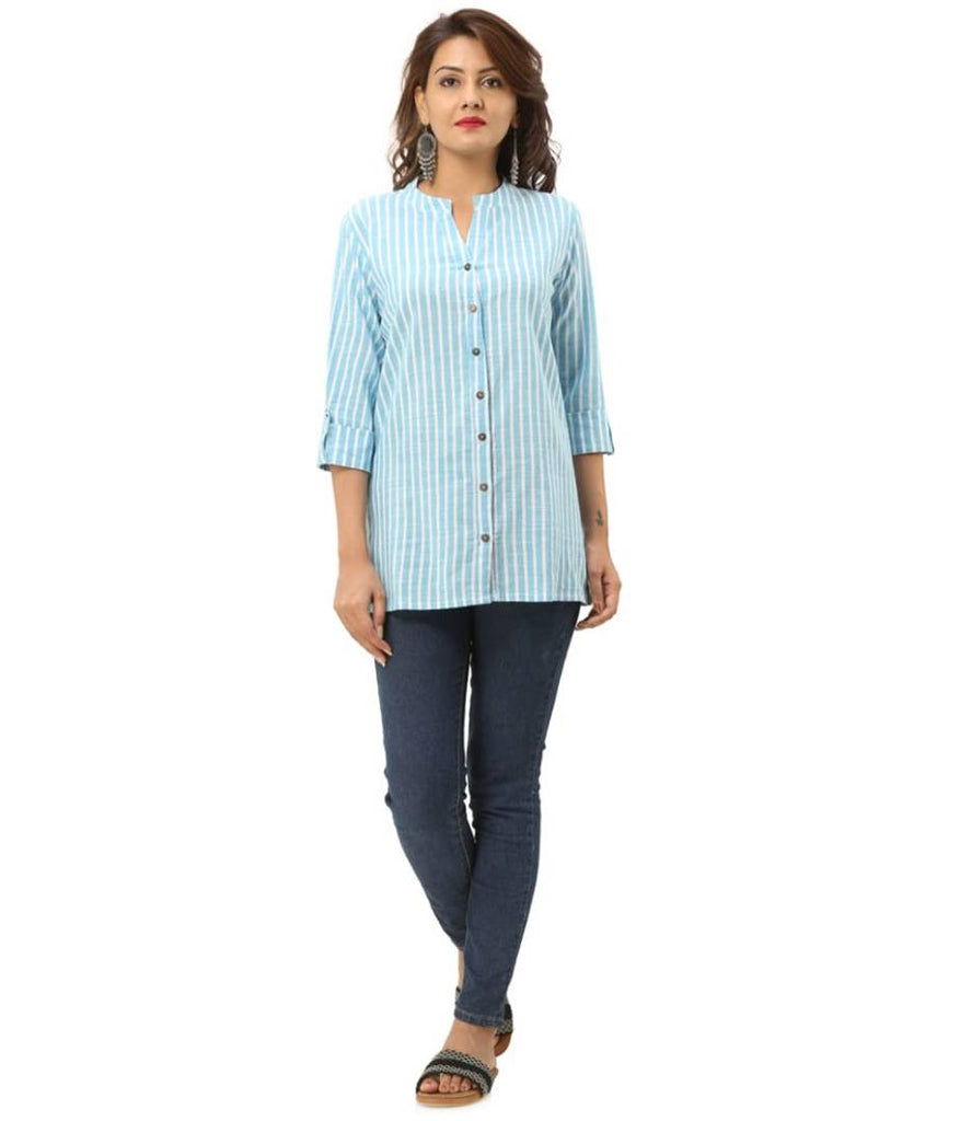 Women's Striped Rayon Cotton Regular Fit Shirt - Zoopershop.com