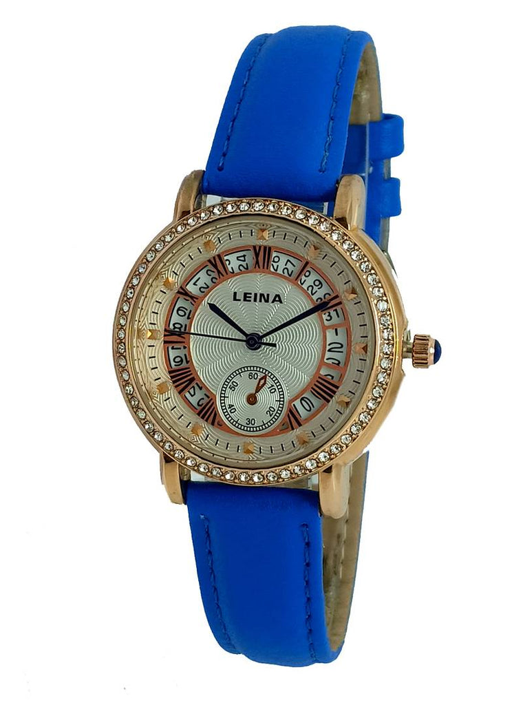 Blue Analog Watch With Synthetic Leather Strap And Brass Dial
