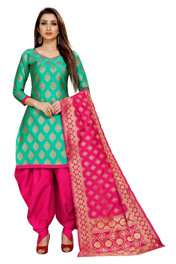 Stylish Green Self Pattern Brocade Dress Material with Dupatta