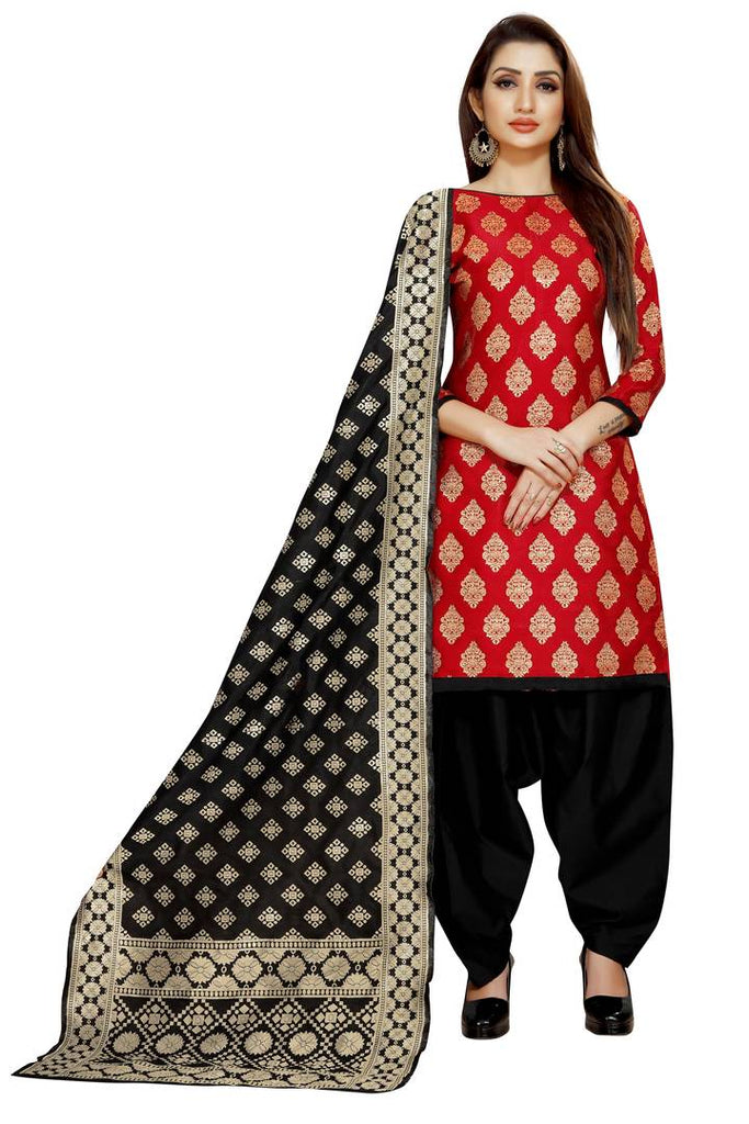 Stylish Red Self Pattern Brocade Dress Material with Dupatta