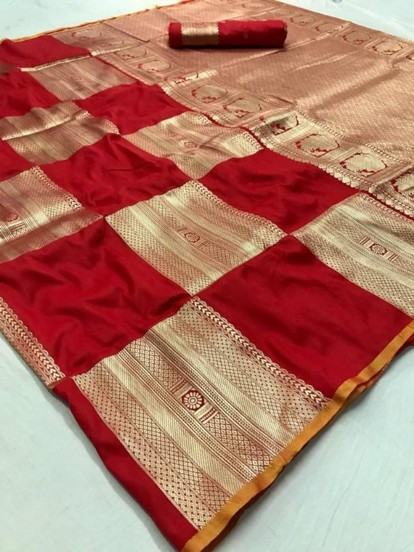 New Look Red Color Art Silk Banarasi Saree with Blouse piece