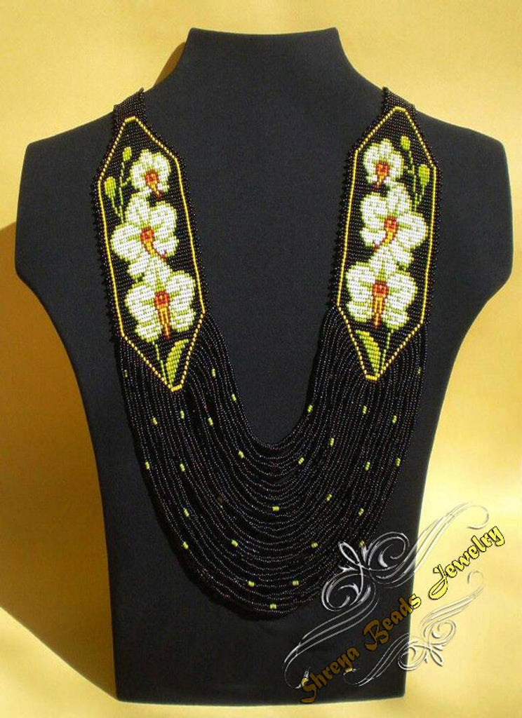 Handmade Multi Layered Zeco Beads Necklace with free earrings
