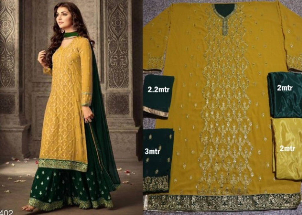 Stylish Heavy Embroidery Georgette Yellow Straight Dress Material