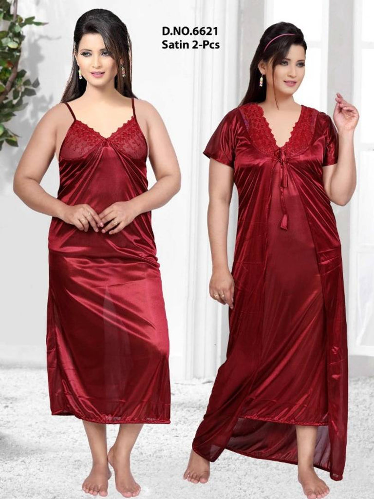 Designer 2-IN-1 Satin Night Gown With Robe
