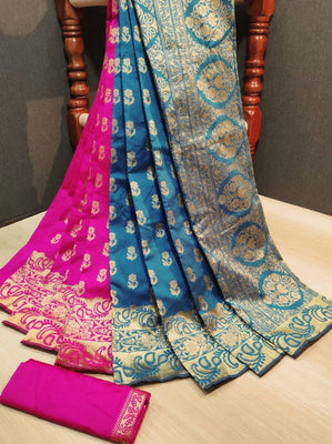 Banarasi Art Silk Multicoloured Woven Design Saree