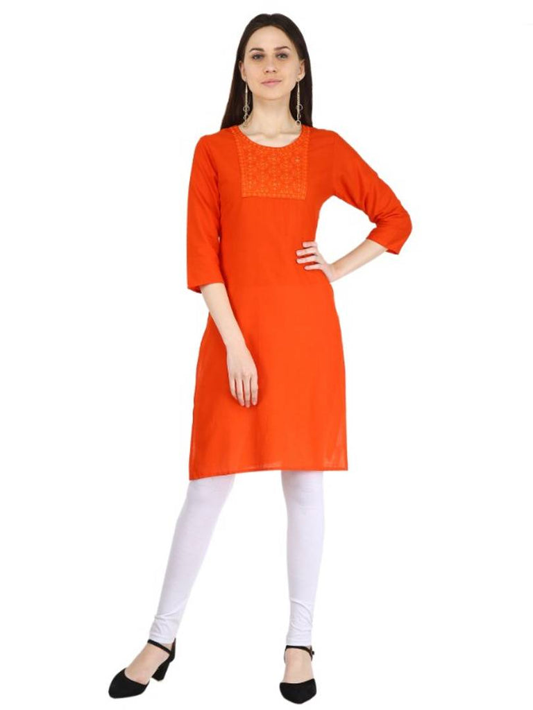 Elegant Orange Cotton Solid Women's Kurti